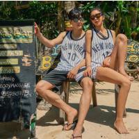 字母情侣沙滩运动比基尼罩衫分体泳衣女三件套 支持礼品卡