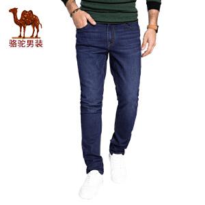 骆驼男装 2017秋季新款直筒水洗男士牛仔裤时尚长裤
