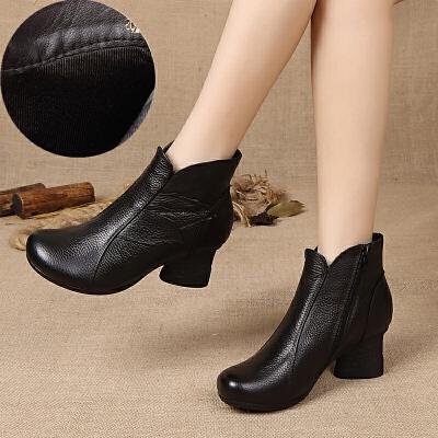 2019秋冬妈妈棉鞋鞋复古民族风棉靴单靴中跟女靴粗跟短靴