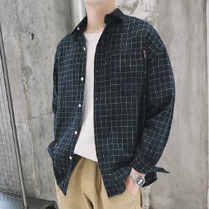 格子衬衫港风宽松男士秋季长袖韩版潮流休闲学生薄款衬衣