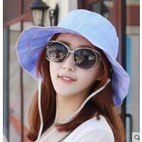 可折叠户外方格遮阳帽太阳帽女士凉帽沙滩帽妈妈帽防紫外线帽新款