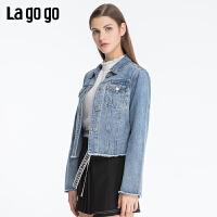 Lagogo2019秋季新款方领修身开衩蓝色街头牛仔短外套女ICWW538B42