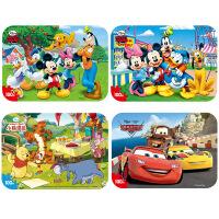 【当当自营】迪士尼拼图玩具 100片铁盒木质拼图四合一(米奇2420+米奇2421+维尼2422+赛车2427)