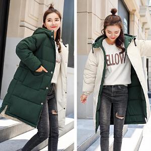 朴衣尚2018两面穿冬季新款羽绒棉服中长款休闲宽松显瘦棉衣外套潮