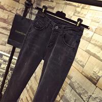 烟灰色高腰牛仔裤女弹力女裤显瘦2018春季韩版紧身小脚裤黑色长裤