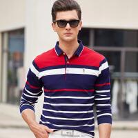 男士长袖t恤纯棉男上衣翻领单穿青年条纹polo衫秋季新款
