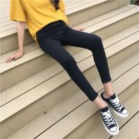 烟灰色九分牛仔裤女春秋季2017新款韩版显瘦百搭学生小脚铅笔长裤