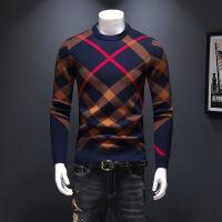 ▲新款男士线衫2018秋冬男士羊毛衫针织格子毛衣深蓝休闲舒适百搭