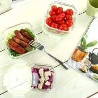 玻璃保鲜盒饭盒微波炉冰箱专用耐热饭盒套装圆形方形密封保鲜碗