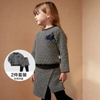 【2件3.8折】迷你巴拉巴拉童装女童休闲套装冬季新款女宝宝保暖卫衣两件套