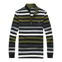 3615秋装新款战地吉普AFS JEEP 纯棉立领半开衫长袖T恤 条纹男士大版polo衫