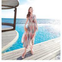 新沙滩裙吊带长裙波饰海边度假连衣裙西米亚民族风泰国旅游服可礼品卡支付