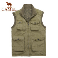 CAMEL骆驼 男装户外马甲 秋冬新品翻领休闲纯棉男款背心