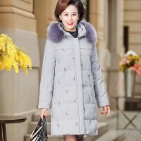 中老年羽绒服女短款2018新款妈妈装冬装中年人女装棉衣外套40岁50 (中长款) XL(建议95-110斤 先加购物车