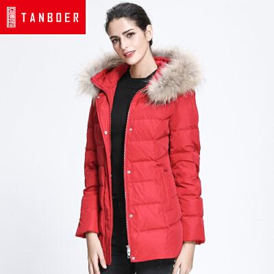 坦博尔短款羽绒服女士连帽大毛领中老年宽松新款加厚羽绒衣TD3312冬季新款 90%含绒量 貉子毛