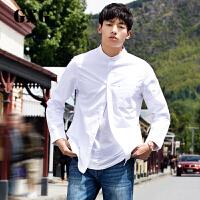 【GXG过年不打烊】GXG男装 春装男士时尚白色简约百搭立领长袖衬衫男