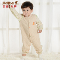 威尔贝鲁 婴儿长袖哈衣爬服 纯棉春秋款新生儿衣服 宝宝连体衣