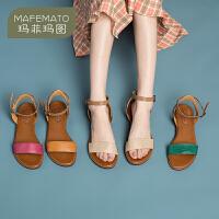 玛菲玛图夏季凉鞋女夏外穿一字扣罗马鞋女多彩休闲度假鞋2611-1911