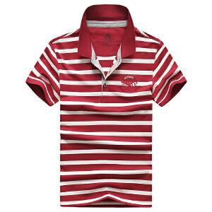 79866夏装新款战地吉普AFSJEEP纯棉弹力条纹短袖T恤衫翻领男POLO