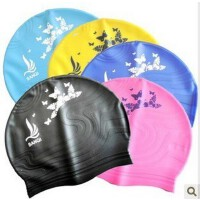 三奇品牌 硅胶游泳帽 成人泳帽 云纹印花胶帽(多色)