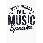 预订 When Words Fail Music Speaks: Guitar Lined Notebook, Jou