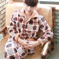 新款法兰绒睡衣男长袖秋冬加厚珊瑚绒大码宽松加绒家居服套装冬天C-R-6041SH-1