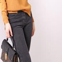 烟灰色直筒韩版显瘦小脚裤保暖厚长裤牛仔裤加绒女冬季新款修身潮