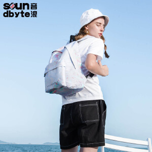 【支持礼品卡支付】soundbyte韩版中学生书包学院风女彩色印花休闲书包