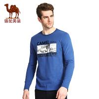 骆驼牌男装 春季时尚印花纯棉圆领青年男士长袖T恤衫男