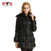 雅鹿秋冬女士女款羽绒服 时尚抽褶修身中长款羽绒服外套YN21050