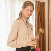 Lagogo拉谷谷2019冬新款甜美气质上衣纯色长袖雪纺衬衫女杏色上衣