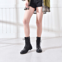 19珂卡芙冬季新款【拼接】复古绑带马丁靴厚底防滑百搭舒适女靴