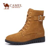 Camel/骆驼女鞋 舒适休闲 二层牛�S圆头保暖拉链中跟内增高中筒靴