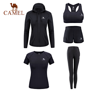 camel骆驼瑜伽服五件套女秋季速干跑步运动套装针织健身服