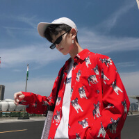 秋季长袖衬衫男潮流韩版小狗印花个性打底衬衣学生小清新外穿寸衫