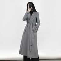 2017韩版秋季长袖时尚气质收腰系带过膝灰色中长款风衣女式外套 气质灰