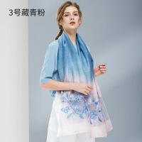 女神气质杭州丝绸 丝巾女 围巾纱巾女春秋季冬季百搭长款披肩两用