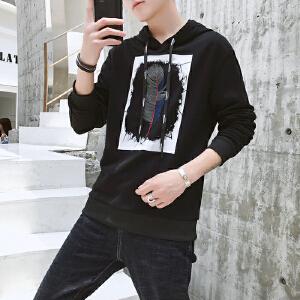 连帽卫衣男士2018秋季新款套头外套休闲宽松学生韩版潮流男装秋装