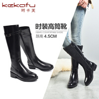 19珂卡芙冬季新款【显高显瘦】时尚百搭长筒时装靴圆头粗跟靴女