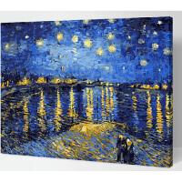 装饰画 手绘数字油画特价 星空下的罗纳河 梵高 客厅风景手绘情侣装饰画  40*50 名画