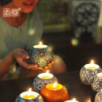 墨菲手工陶瓷烛台 欧式摆件装饰品创意浪漫烛光晚餐餐桌婚庆烛台装饰品摆件