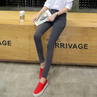 高腰牛仔裤女长裤2018春秋季新款烟灰色小脚铅笔黑色加绒裤子女裤