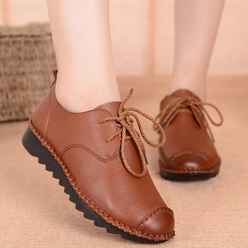 妈妈鞋软底女鞋舒适中年平底系带女士工作单鞋休闲中老年老人皮鞋