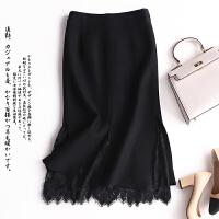2017欧美新款春秋新款女装针织包臀裙半身裙蕾丝针织打底一步裙 黑色