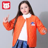 小猪班纳童装女童外套2017冬装新款棉服中大童保暖棉袄儿童棉衣女