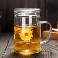 便携带盖过滤水杯带把透明花茶杯子带手柄玻璃杯家用办公室泡茶杯