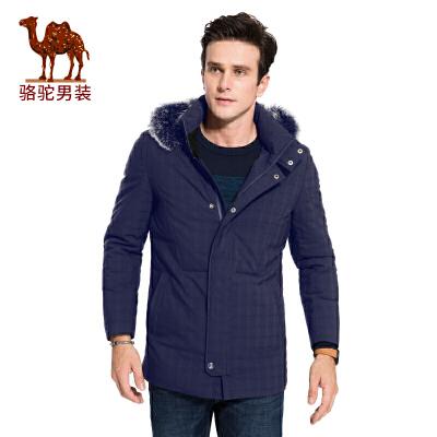 骆驼男装 冬季新款可脱卸帽格子带毛领男青年中长款羽绒服