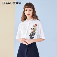 ERAL/艾莱依2018夏新款纯棉人像印花翻领小清新衬衫女装上衣衬衣667X032009