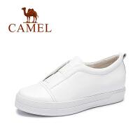 Camel骆驼女鞋  韩版 纯色简约低跟单鞋 舒适百搭小白鞋