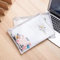 文件袋透明文件袋拉链时尚小清新资料袋档案袋办公用品a4文件袋学生用文具袋试卷收纳袋拉链袋4只装